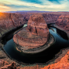 Horseshoe Bend at Sunset by Wenjie Qiao - Landscapes Caves & Formations ( page, sunset, arizona, horseshoe, coronado river )