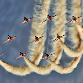 r edit 9  by Kelly Murdoch - Transportation Airplanes ( red arrows, uk, display, jets, smoke, ztam, hawk, flying, flight, aviation, england, reds, sky, fly, blue, aircraft, r edit, planes, formation )
