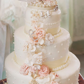 Wedding Cake by Sandy Stevens Krassinger - Wedding Other ( cake, wedding, doves, flowers, knife,  )