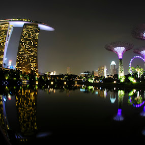 Marina Bay by Mohamad Shahreen - Buildings & Architecture Office Buildings & Hotels ( water, water reflection, building, reflection, night photography, beautiful night, beautiful cityscape, cityscape, light, marina bay, singapore )