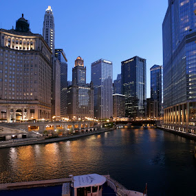 Chicago River by Cristobal Garciaferro Rubio - City,  Street & Park  Vistas ( chicago river, reflections, chicago, usa, river )