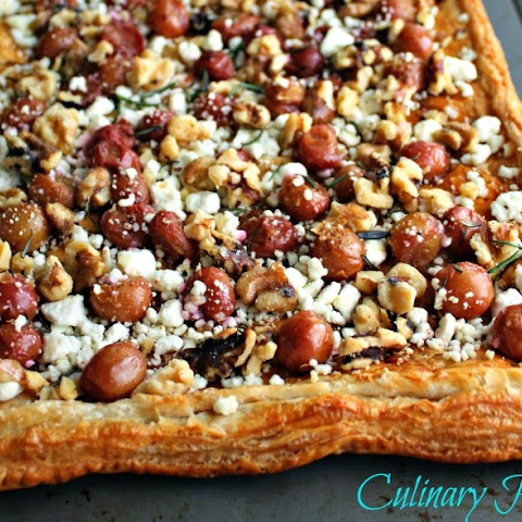 Roasted Grape, Goat Cheese, and Walnut Tart