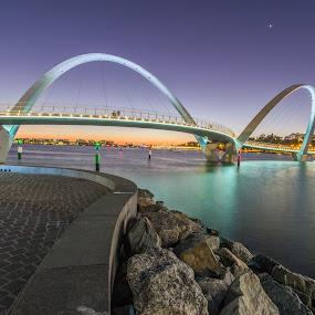 Elizabeth Keys Perth by Tony Burnard - Buildings & Architecture Bridges & Suspended Structures ( sunset, night, bridge, light, river )