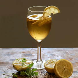 Cheers ..... Happy Father's Day by Tin Tin Abad - Food & Drink Alcohol & Drinks ( wine, cilantro, wine glass, soda, lemon, salt )
