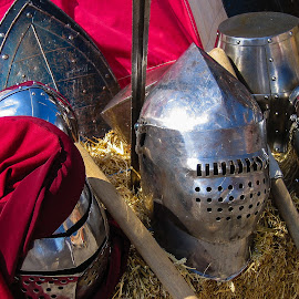 Medieval Helmet by Simon Shee - Artistic Objects Clothing & Accessories ( red, armour, carnival, monaco, festival, helmet, medieval )
