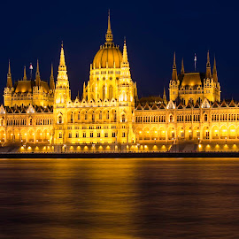 Hungarian Parliament Building by Jeff Lebovitz - Buildings & Architecture Public & Historical ( hungary, budapest, night view, danube, parlaiment )