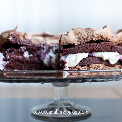 Chocolate Meringue Cake with Blueberry Compote