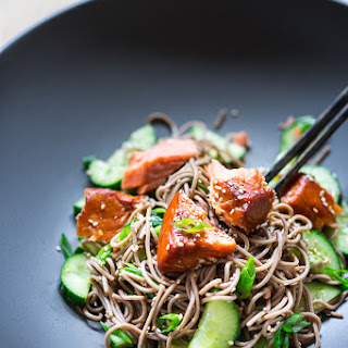 Sesame Soba Noodles with Smoked Salmon and Cucumber