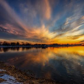 Bonfire of the Vanities by Linda Karlin - Landscapes Sunsets & Sunrises ( sunset, landscape )