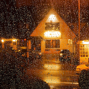 Rainfall. by Sorin Bogdan - City,  Street & Park  Neighborhoods ( village, window, drops, 2012, house, rain )