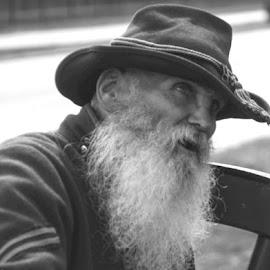 Oldtimer by Jon Harvey - People Portraits of Men ( reactor, b&w, civil war, beard, old man )