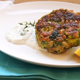 FARRO CAKES WITH LEMON DILL YOGURT SAUCE