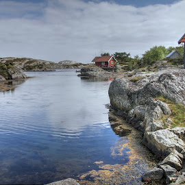 Red Cabin by Roger Gulle Gullesen - Landscapes Waterscapes