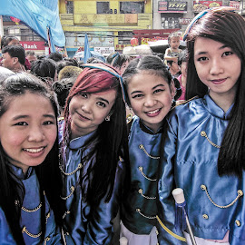 Majorettes take a break by Jimmy Hilario - People Musicians & Entertainers ( parade, girls, happy, chinatown, majorettes, newyear, kids, smile, manila, philippines, chinese,  )
