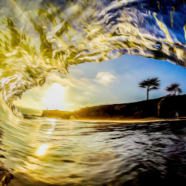 Sunset Arch Wave by Unknown - Landscapes Beaches ( filtered, surfart, sunset, wave, waveart )