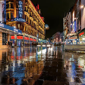 Leicester Square reflections #londonlive #nikon #nikond810 #nikonpicoftheday #londonpeople #london #leicestersquare #reflection #longexposureoftheday #londontown #londonlights #nightscapes #cityscapes by Richie Hall - City,  Street & Park  Street Scenes