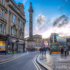 Greys Monument by Adam Lang - City,  Street & Park  Street Scenes ( greys monument, sky, blacket street, tyneside, newcastle, road )
