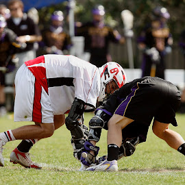 Competition by Keith Johnston - Sports & Fitness Lacrosse ( field, athletes, competing, players, action, gloves, helmet, lacrosse )