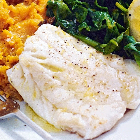 Cod With Garlic Sweet Potato Mash And Lemon Spinach