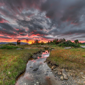 Sunset and clouds by Benny Høynes - Landscapes Sunsets & Sunrises ( red, colorful, sunset, creek, norway )