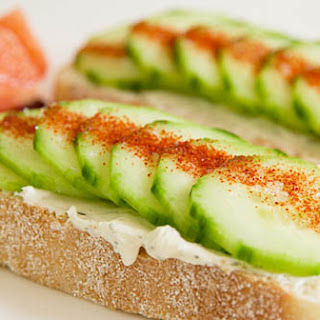 Cucumber and Cream Cheese Crostini