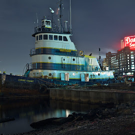 tug at rest by Mike Mulligan - Transportation Boats ( water, harbor, baltimore, night, cityscape, tug )