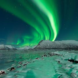 aurora and sea ice by Marius Birkeland - Landscapes Starscapes ( winter, sky, ice, aurora, arctic )