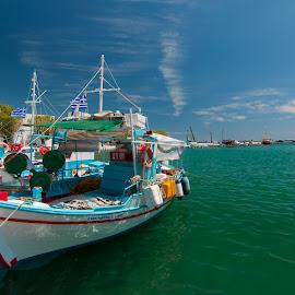Το Καϊκι by Grigoris Koulouriotis - Transportation Boats ( greece, samos, summer, sea, boat )