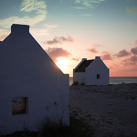 Slave Huts of Bonaire by Erin Schwartzkopf - Buildings & Architecture Homes ( history, sunset, bonaire, beach, island )