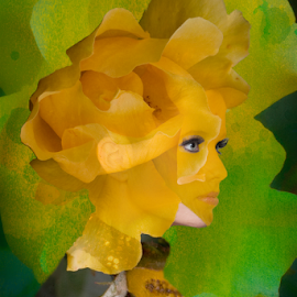 yellow and green woman by Vibeke Friis - Digital Art People ( double exposure, woman, portrait,  )