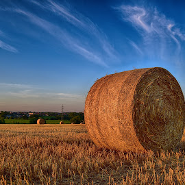 Smoking Hay Bale by Marco Bertamé - Landscapes Prairies, Meadows & Fields ( clouds, field, sky, blue, straw, sunset, summer, round, circle, hay bale )