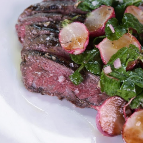 ... Flat Iron Steaks with White Anchovy Butter & Roasted Radish Salad