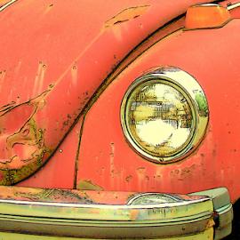 DENTS by William Thielen - Digital Art Things ( dented, vw, urban, volkswagan, red, seattle, bug, dents, rust, dent, beetle )