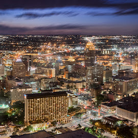 Night View of San Antonio from the Tower of the Americas by Ellen Yeates - City,  Street & Park  Skylines ( skyline, time of day, texas, san antonio, architecture, cityscape, photography, city, sky, above, long exposure, downtown, top, tower of the americas, building, usam night view, ellen yeates, blue hour, cloudy motion, horizon, movement clouds, picture, tower, horizontal, cityscape skyline, ellen yeates photography, outdoor, on the top, architectural, night, town, view )