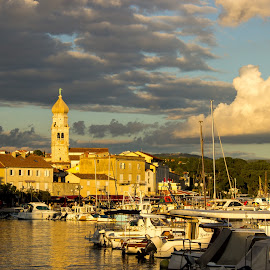 Old town of Krk, Croatia by Balazs Toth - City,  Street & Park  Historic Districts ( sunset, mediterranean, old town, croatia, marina, krk, golden hour )
