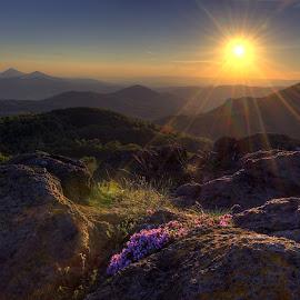 západ slunce z Holého vrchu by Petr Nový - Landscapes Mountains & Hills