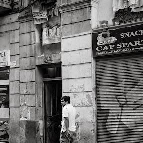 Raval by Joan Vega - City,  Street & Park  Street Scenes ( b&w, outdoor, street, door, day, walk, barcelona )