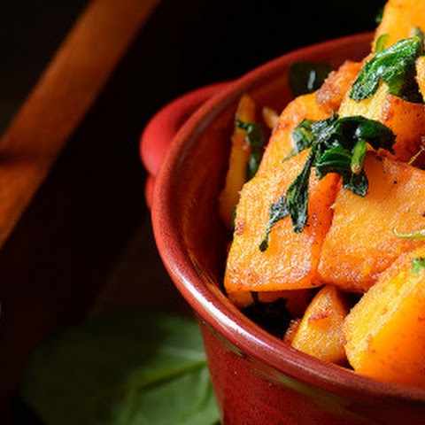 Pan Roasted Butternut Squash and Baby Spinach