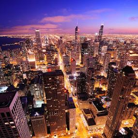 Chicago Skyline by Pete Piriya - City,  Street & Park  Skylines