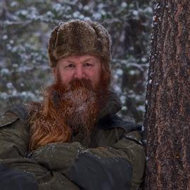 Woodsman by Glenn Roesener - People Portraits of Men ( viking, winter, snow, woods, portrait )