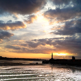 Margate pier - taken with iphone by Mick Heywood - Landscapes Beaches ( water, reflection, boats, harbour, sea, margate )