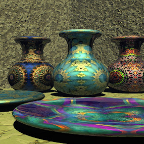 Marrakesh Wares by Lyle Hatch - Illustration Products & Objects ( colorful, textures, jugs, three dimensional, rendering, mandala, plates, 3d, digital art, 3-d, bryce, dishes, fractals, realism, jars, skins )