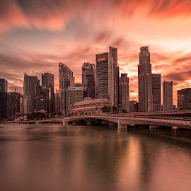 Shenton Glory by Gordon Koh - City,  Street & Park  Skylines ( shenton way, skyline, reflection, riverfront, cityscape, singapore, urban, cbd, skyscraper, sunset, asia, cloud, long exposure, waterfront, jubilee bridge, golden hour )
