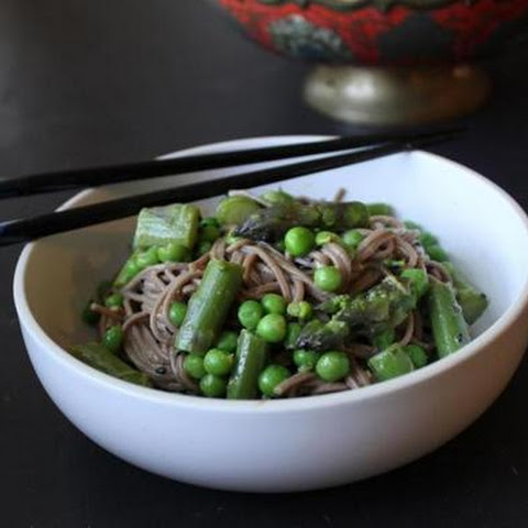 Recipe For Soba Noodle Salad With Asparagus, Peas, And Sesame Dressing
