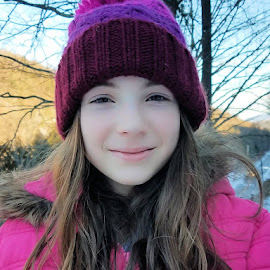 Cold Afternoon by Sandy Considine - Babies & Children Children Candids ( girl, pink parka, brown hair, hat )