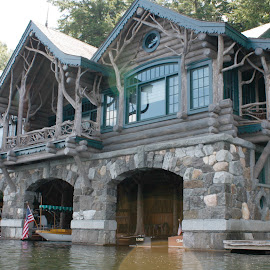 Adirondack Cabin by Ruth Sano - Buildings & Architecture Homes ( water, home, cabin, logs, stone, log cabin )