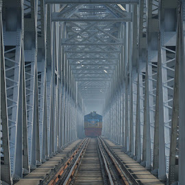 on the river meghna..... by Ashif Hasan - Transportation Railway Tracks ( steel, front of a giant, strong, railroad, train tracks, structure, meghna bridge, ashif hasan, bangladesh railway, iron, railway, bridge, lines, train )