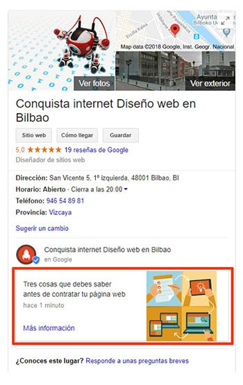 Posicionamiento Local Google My Business Bilbao