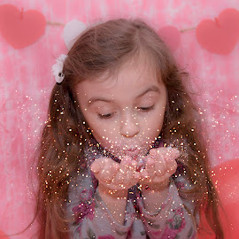 Adding Sparkle To The Room by Chris Cavallo - Babies & Children Child Portraits ( hearts, red, girl, valentines, pink, balloons, glitter, portrait )