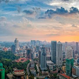 Towering sunset by Azizan  Ishak - City,  Street & Park  Skylines ( skyline, malaysia, cityscape, kuala lumpur, city )
